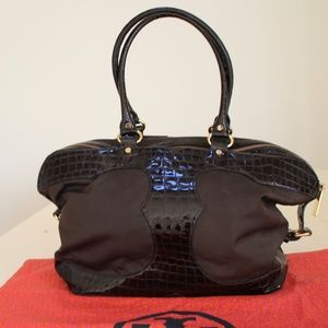 TORY BURCH DARK BROWN CROCO DESIGN SATCHEL/TOTE